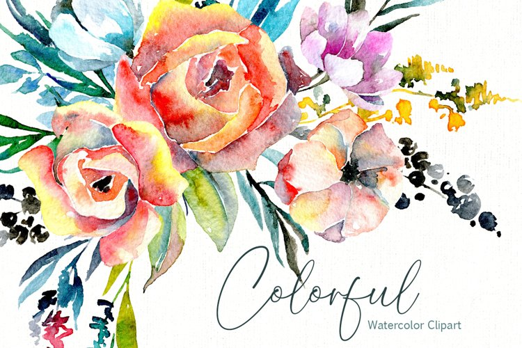Colorful Watercolor Flowers & Leaves
