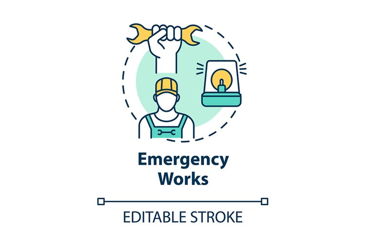 Emergency work concept icon example image 1