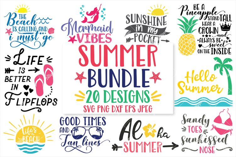 Summer, Beach Bundle of 20 SVG DXF PNG EPS Cutting Files example image 1