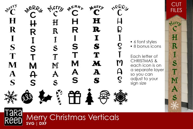 Merry Christmas Vertical Sign - Christmas SVG & DXF Files example image 1