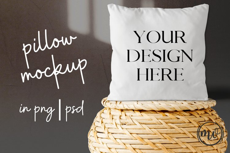 White Pillow Mock Up on Wicker Basket - PNG|PSD