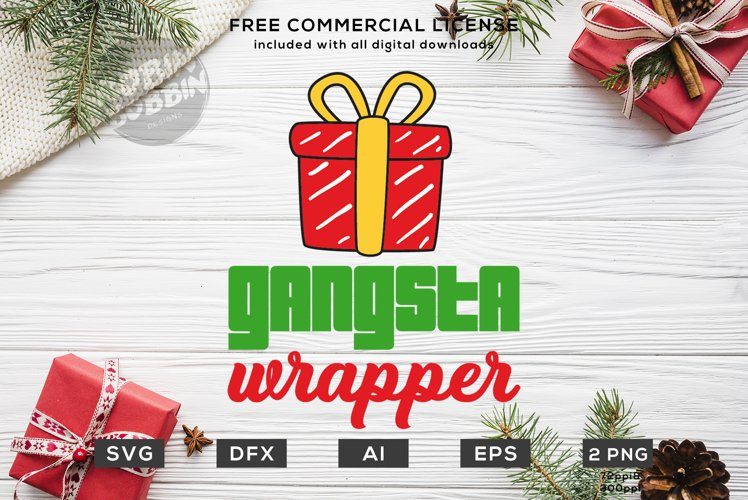 Gangsta Wrapper Christmas Design SVG DXF example image 1