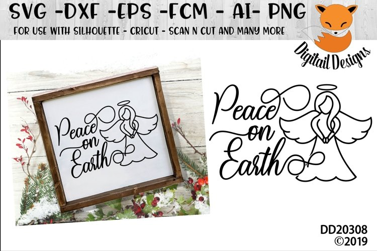 Peace On Earth Angel Christmas Winter SVG example image 1