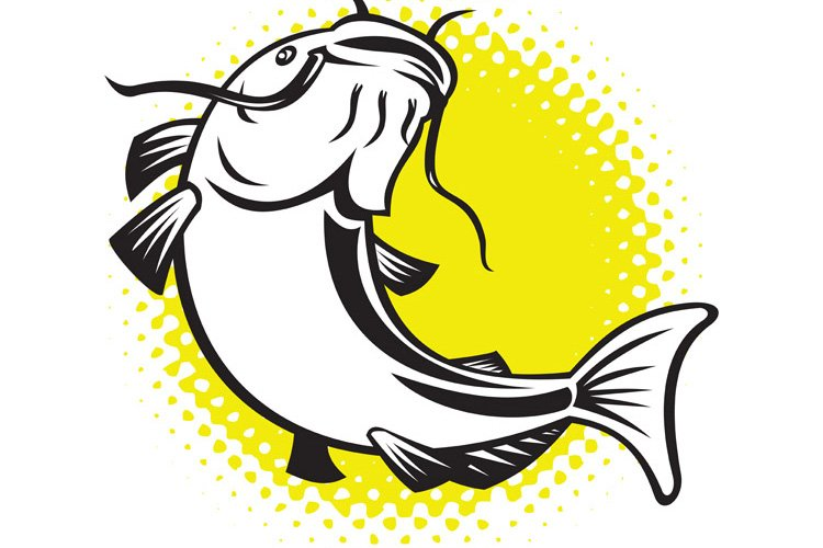 Catfish jumping up with halftone dots example image 1