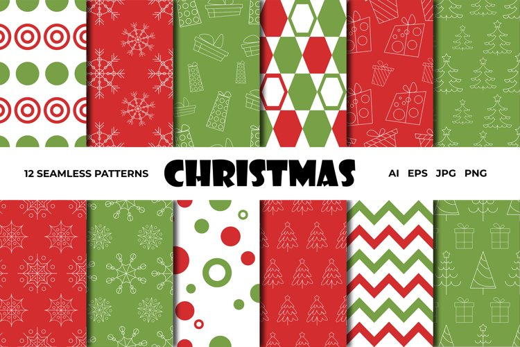 Vector seamless Christmas patterns set/green and red example image 1