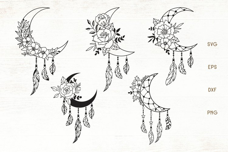 Moon SVG - Floral Dreamcatcher Moon SVG