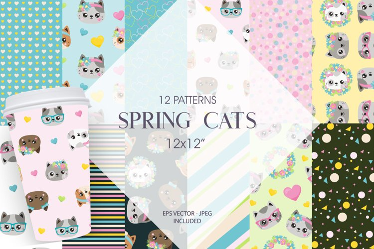 Spring Cats Patterns and illustrations, vector example image 1