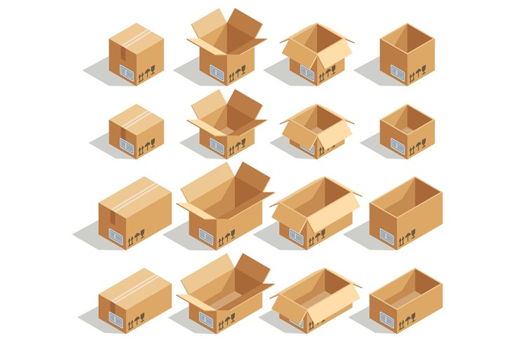 Vector isometric cardboard boxes example image 1