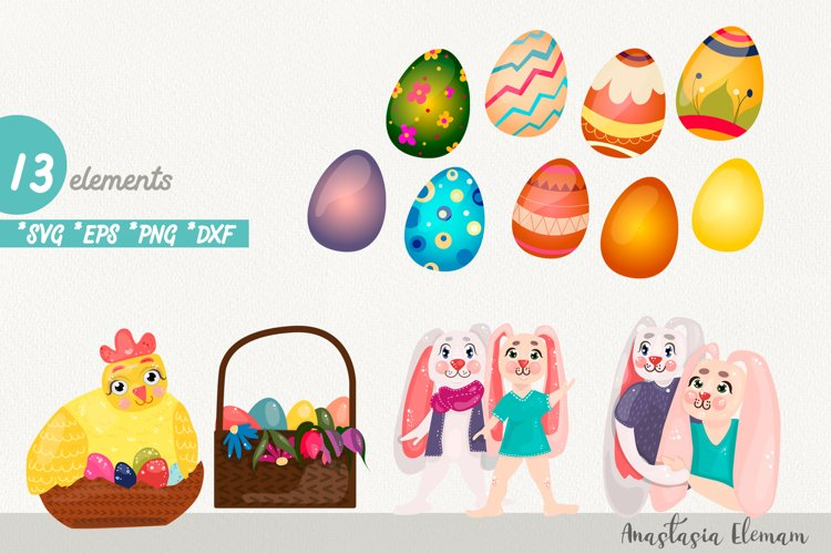 Easter eggs hunt clipart bunnies svg dxf eps commercial use example image 1
