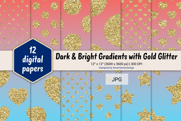 Polka Dot, Hearts, & Stars - Gradients with Gold Glitter #16 example image 1