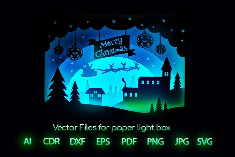 Merry Christmas Light box template, New Year gift Lightbox example image 1