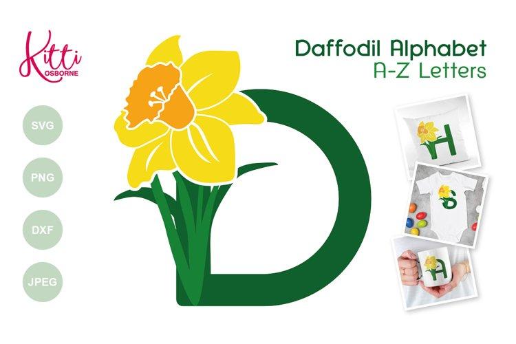 Daffodil Alphabet - floral letters - SVG PNG DXF JPEG