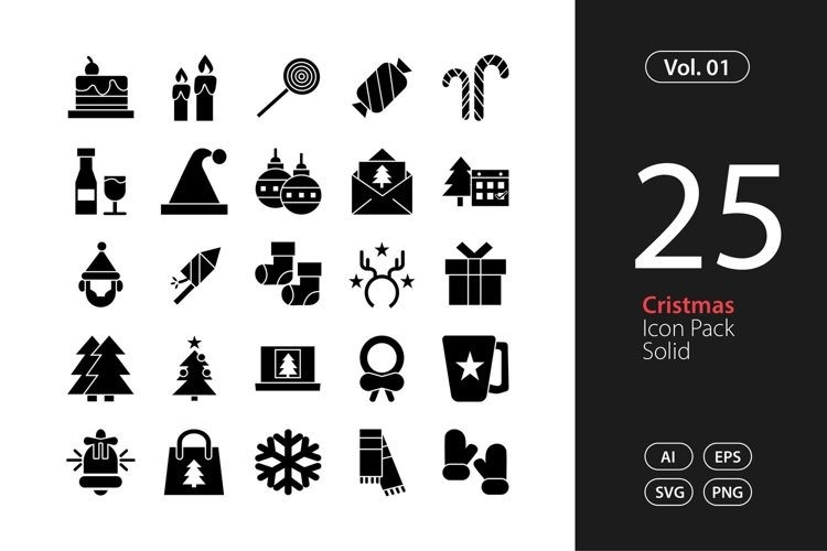 Christmas Icon Solid SVG, EPS, PNG example image 1
