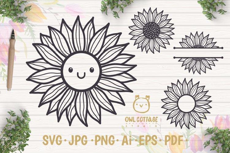 Cute Sunflower svg, Sunflower svg, Sunflower clipart example image 1