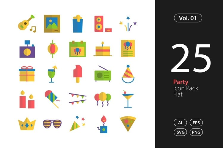 Party Icon Flat SVG, EPS, PNG
