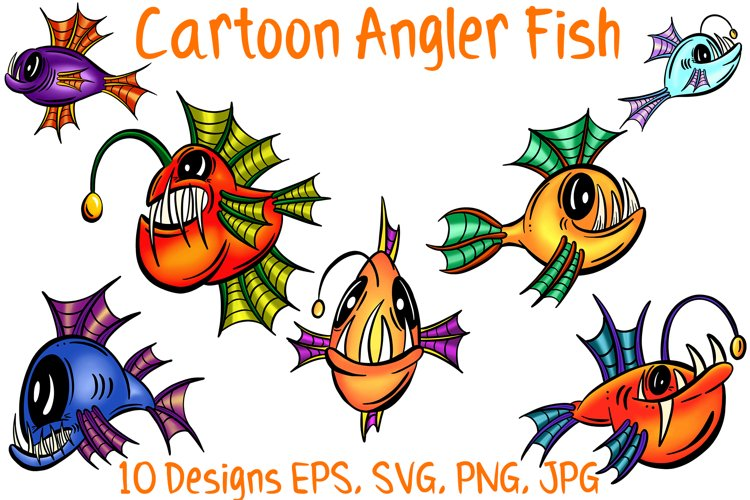 Colourful Cartoon Deep Sea Anglerfish Fish Illustrations example image 1