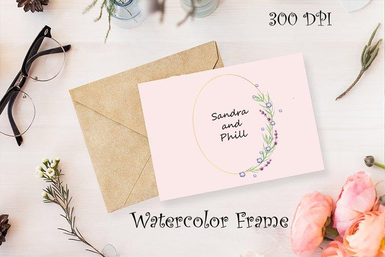 Watercolor Lavender Frame. EPS,PNG,JPG example image 1