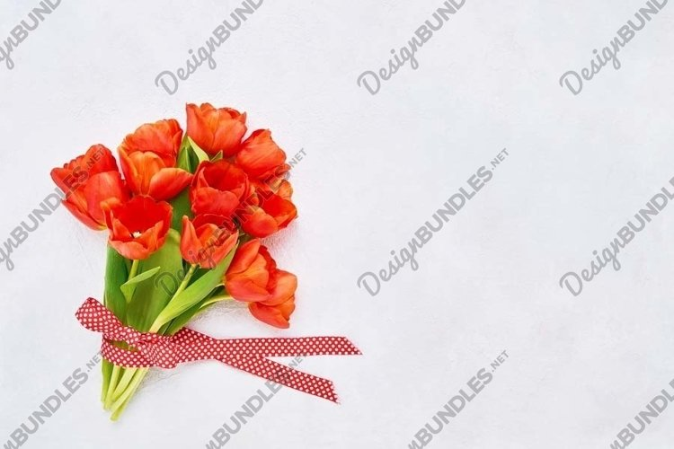 Bouquet of red tulips on white concrete background. example image 1