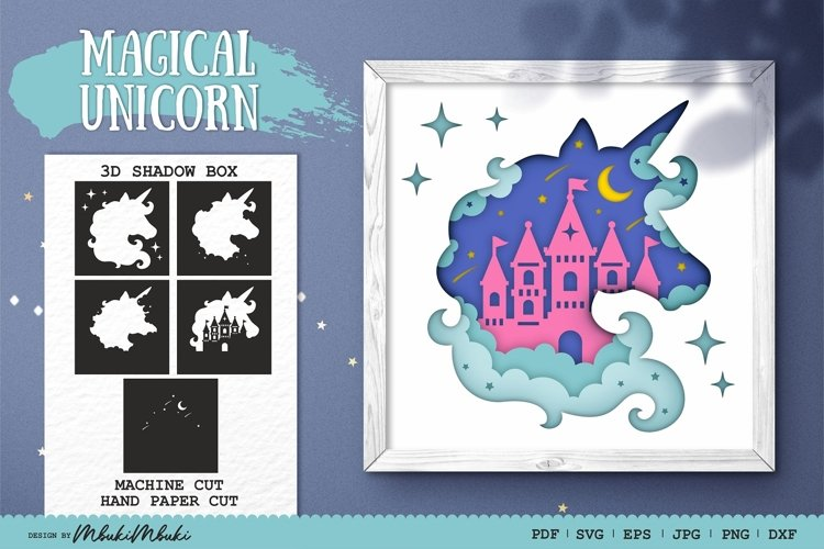 Unicorn 3D Shadow Box SVG Papercut Cutting File