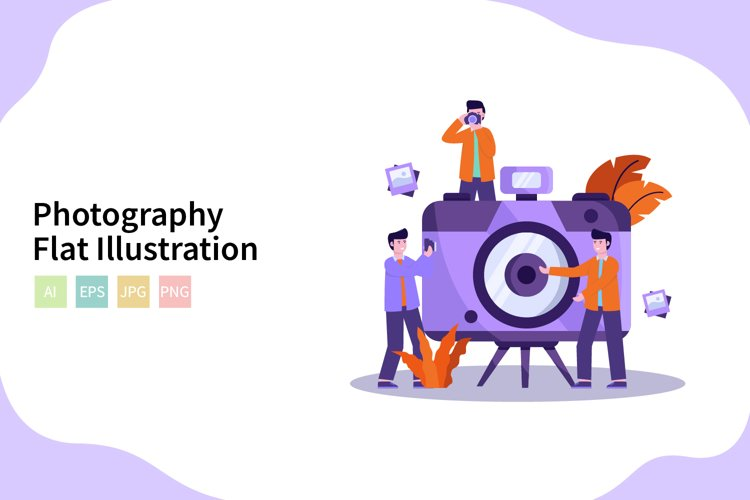 Photographer Vector Illustration In Flat Modern Style example image 1