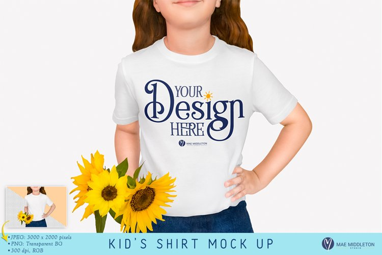 Kids T Shirt Mockup | Styled photo, Sunflowers