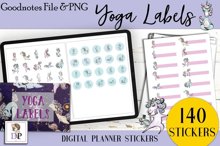 Yoga Labels Digital Printable Labels Stickers Goodnotes example image 1