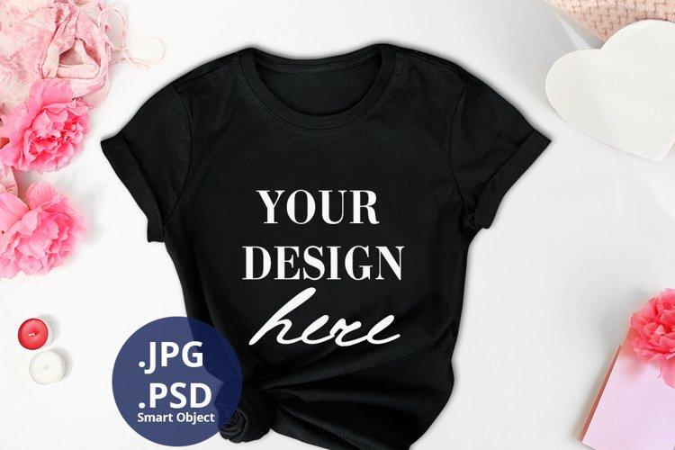 Valentine's day Black t-shirt Mockup PSD, White T-shirt mock example image 1