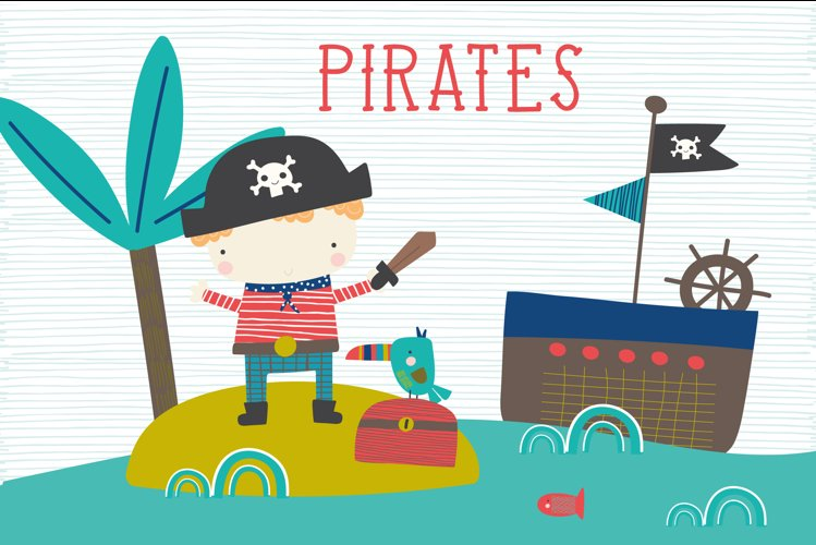 Pirate clipart and paper pack