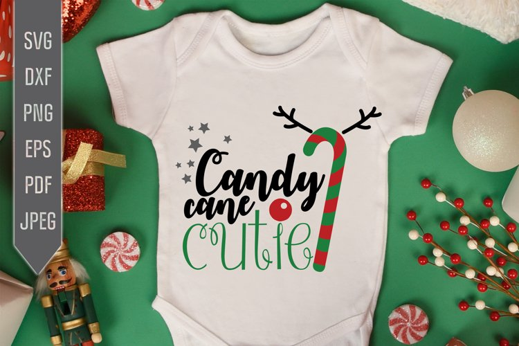 Candy Cane Cutie Svg. Christmas Baby Girl Design example image 1