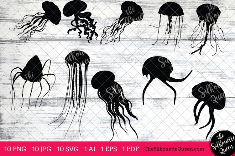 Jellyfish Silhouette Clipart Clip Art(AI, EPS, SVGs, JPGs, PNGs, PDF), Jellyfish  Clip Art Clipart Vectors - Commercial  Personal Use