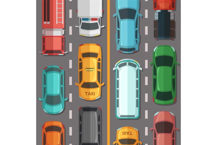 Vector highway road with cars and vehicles top view illustra example image 1