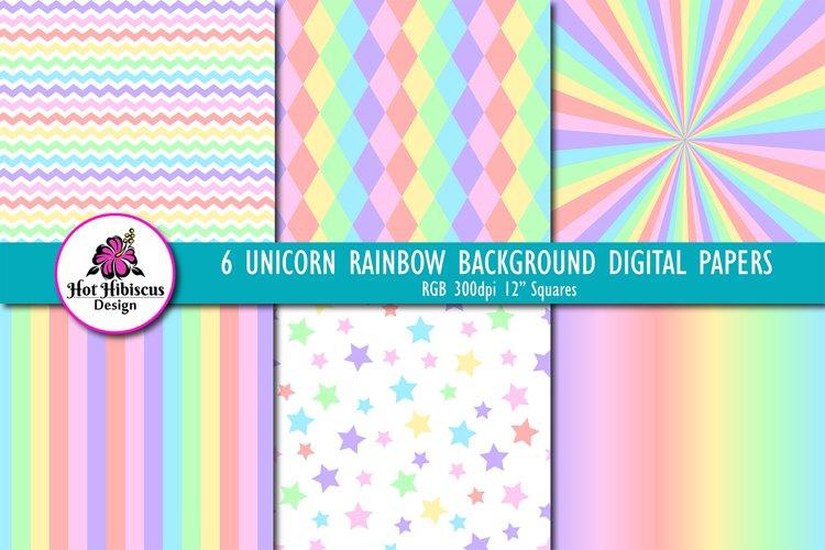 Unicorn Pastel Rainbow Pattern Digital Papers
