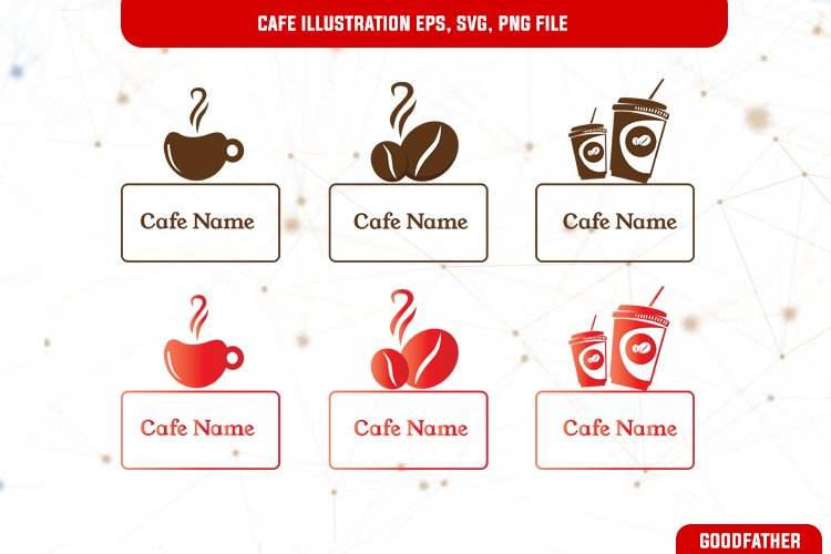 Cafe name template and logo, SVG, EPS, PNG example image 1