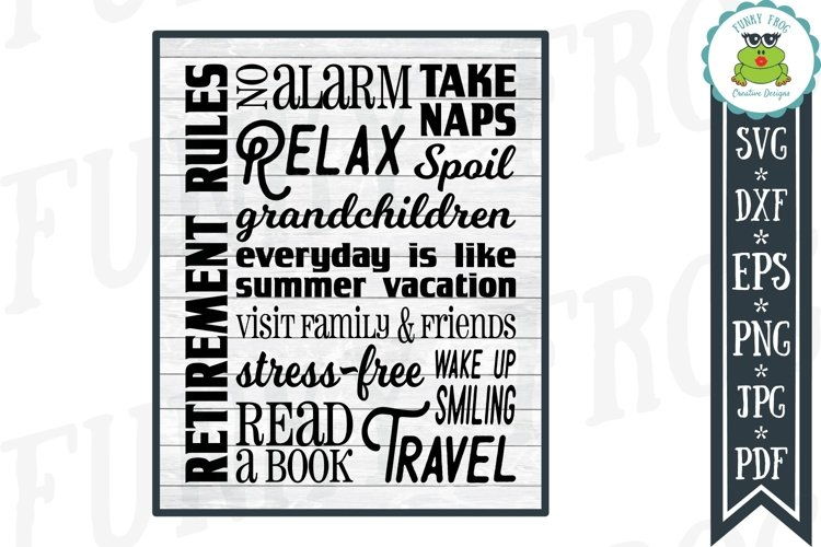 Retirement Rules Subway Art SVG Cut File for Crafters