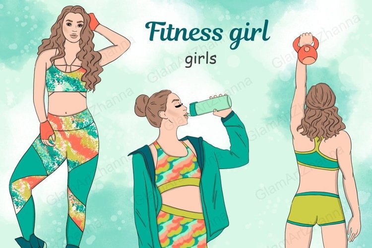 Fitness Girl GIRLS Afro Girls Fashion Doll Gym Wear - PNG example image 1