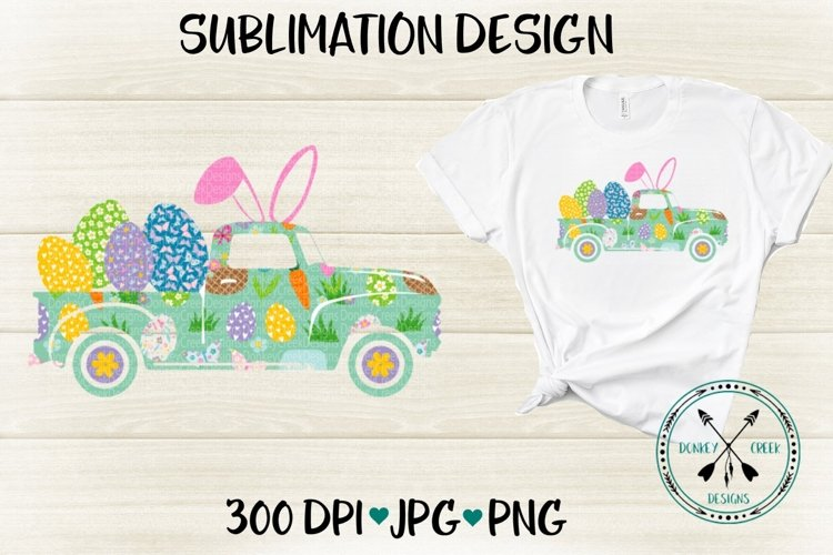 Easter Bunny Truck Sublimation Design example image 1