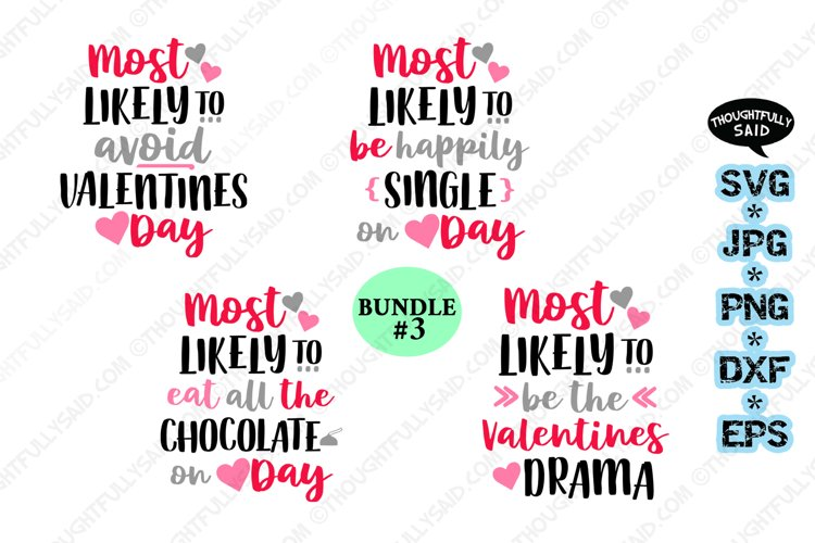 Funny Most Likely VALENTINES Bundle #3, svg jpg png eps dxf example image 1