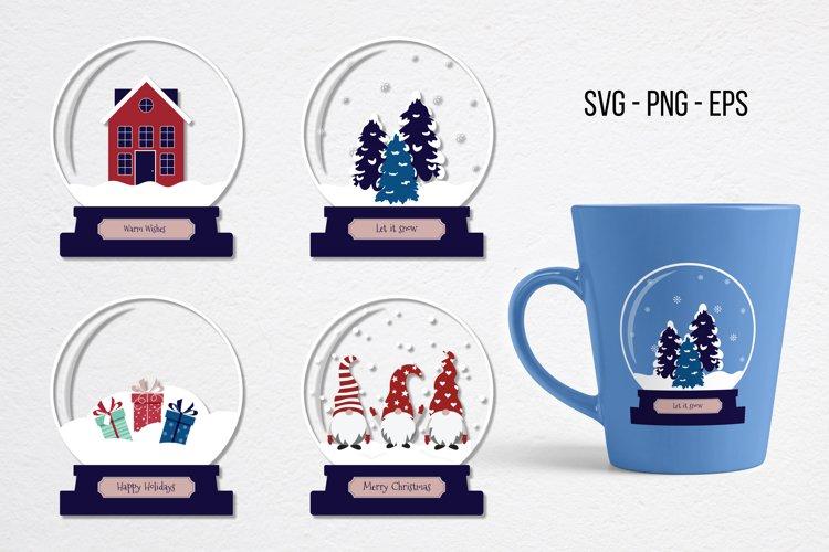 Snow globe SVG, Christmas SVG, Gnome SVG, Winter example image 1