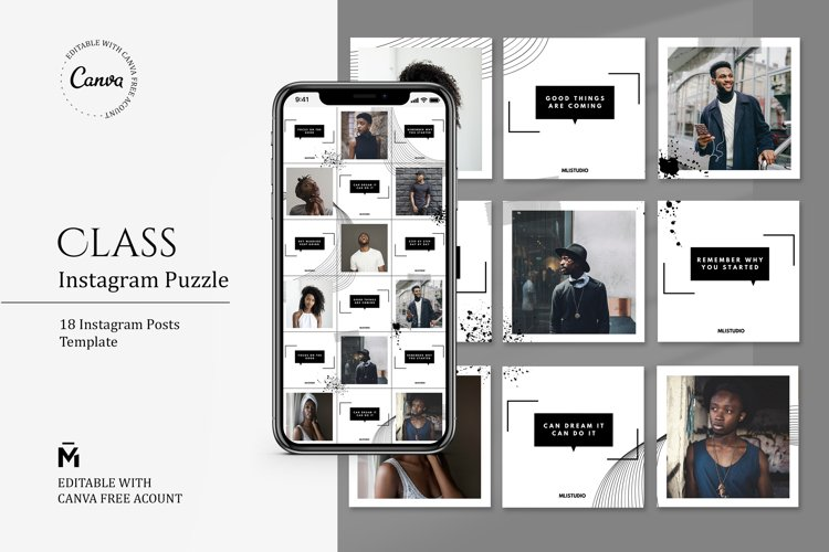 Class PUZZLE TEMPLATE for Instagram - Editable with Canva