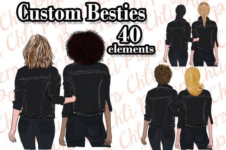 Best Friends Clipart, Custom Besties, Hairstyles clipart,