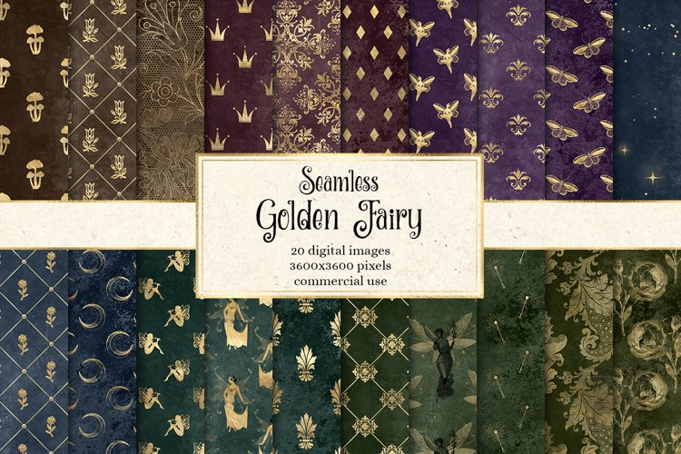 Golden Fairy Digital Paper