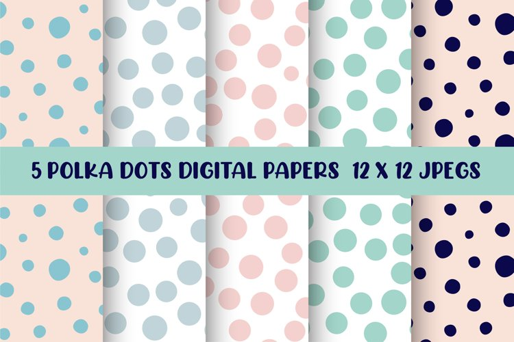 Polka Dots Digital Papers, Seamless Patterns example image 1