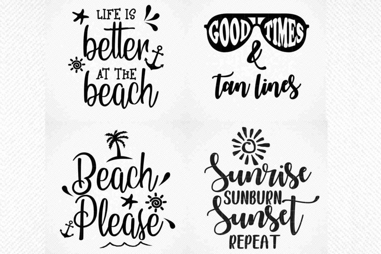 Summer Beach Quotes Bundle SVG, Summer Tshirt Quotes Bundle example image 1