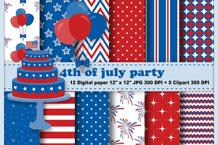4th of July Digital Paper, 4th of July Clipart.