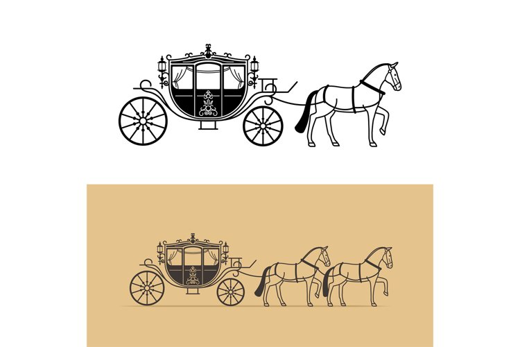 Carriage silhouette with horse example image 1