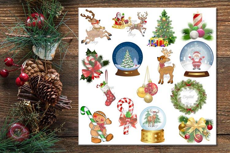 Christmas Digital Paper, Christmas Clip art, JPG & PNG files example image 1