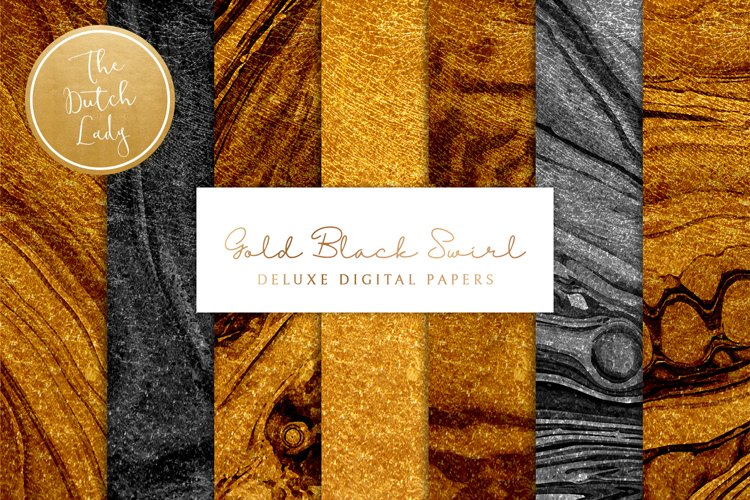 Digital Backgrounds & Papers - Gold and Black Paint Swirls