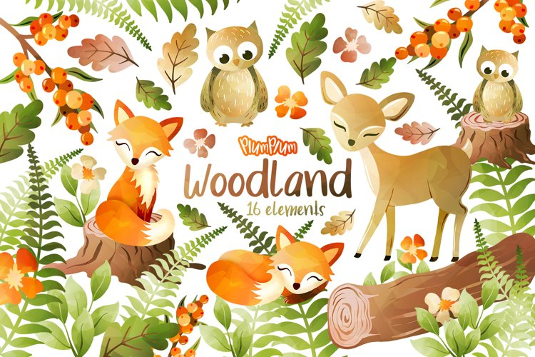 Woodland Watercolor Cliparts example image 1