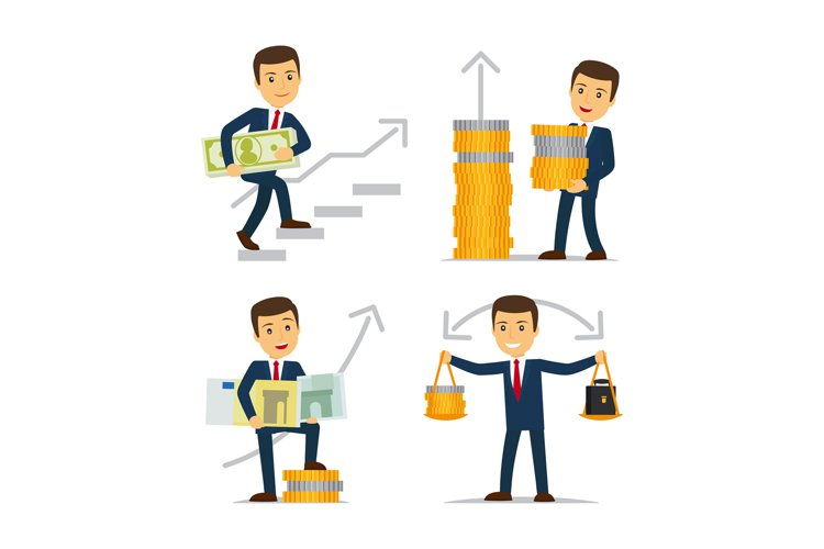 Happy businessman and money example image 1