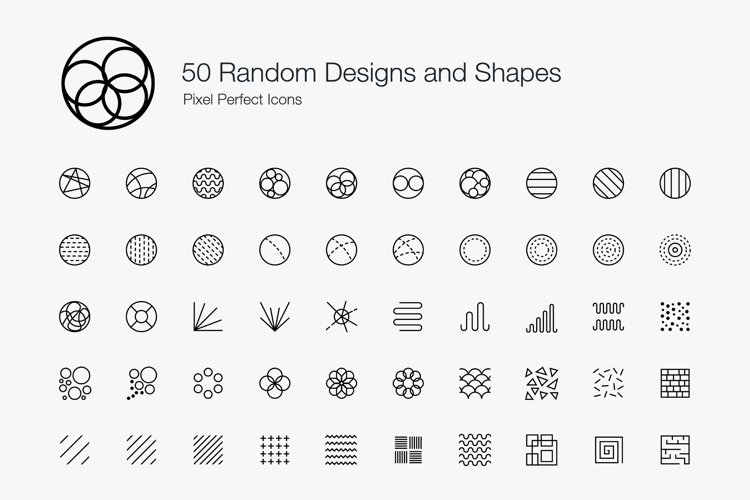 Random Designs Shapes Geometry Textures Pixel Perfect Icons